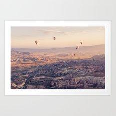 Sunrise Hot Air Balloon Flight Art Print