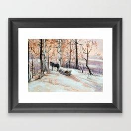 Sledging in the winter forest Framed Art Print