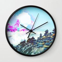 Blooming Flower & Rock Balancing Meditation On The Beach Wall Clock
