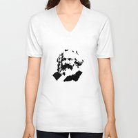 marx V-neck T-shirts featuring Marx by muffa