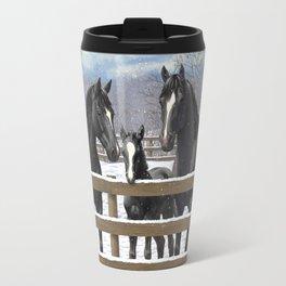 Black Quarter Horses In Snow Travel Mug