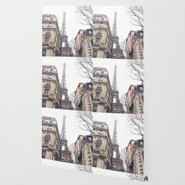 Paris streets, Eiffel tower, city skyline, industrial fine art photo, shabby chic Wallpaper