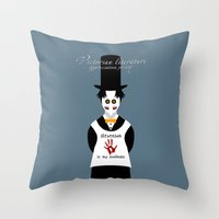 literature Throw Pillows featuring Victorian Literature - Stevenson by Natallia Pavaliayeva