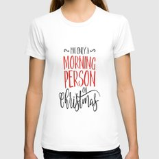 Christmas Morning LARGE White Womens Fitted Tee