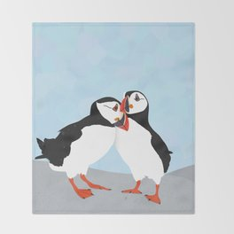 Puffin love you Throw Blanket