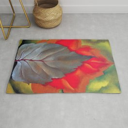 Red and Brown Leaves - Autumn Foliage Still Life Portrait Painting by Georgia O'Keeffe Rug