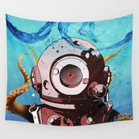 diver Wall Tapestries featuring Diver by Tony Vazquez