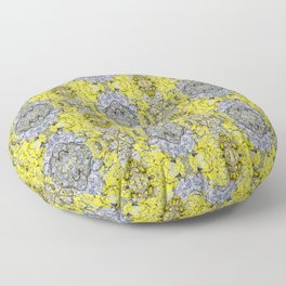 Yellow and Grey Abstract Pattern Floor Pillow