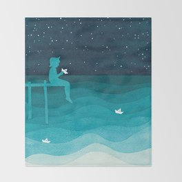 Boy with paper boats, watercolor teal art Throw Blanket