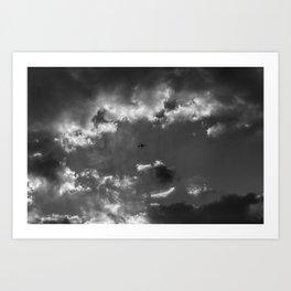 Plane and storm Art Print