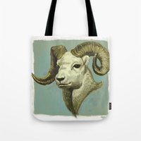 ram Tote Bags featuring Ram by Merz