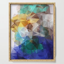 Abstract background of triangles polygon print. Bright design colors Serving Tray
