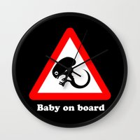 prometheus Wall Clocks featuring Baby on board by dutyfreak