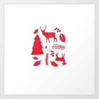 scandinavian Art Prints featuring Scandinavian Christmas  by Gaia Cornwall
