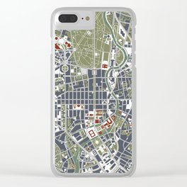 Berlin city map engraving Clear iPhone Case