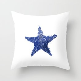 Blue Watercolour Star, Watercolor, Nursery decor, New Baby Gift, Fine art painting Throw Pillow