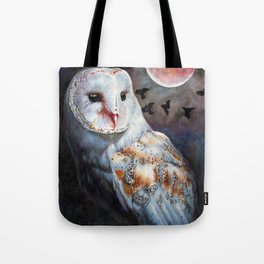 Owl Of The Blood Moon Heart Tote Bag