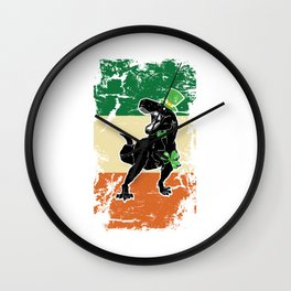 Distressed Irish Flag St Patrick Dinosaur Wall Clock