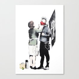 Banksy, Punk with mother Canvas Print