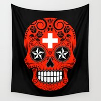 switzerland Wall Tapestries featuring Sugar Skull with Roses and Flag of Switzerland by Jeff Bartels