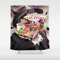 las vegas Shower Curtains featuring Las Vegas Maniac by Kiki collagist