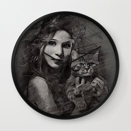 donna con gatto Wall Clock