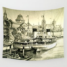THE HARBOUR IN GREYS Wall Tapestry
