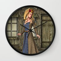 medieval Wall Clocks featuring Medieval Lady by Design Windmill