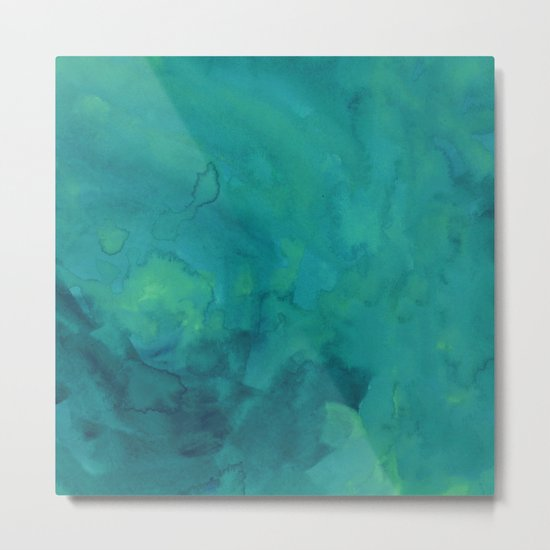 Watercolor green and blue Metal Print