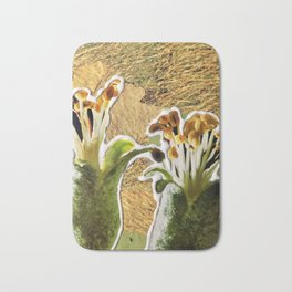 Two Buds on Wheat, a Paper Collage By Cecilia Lee, Whipple Hill Art Collective Bath Mat