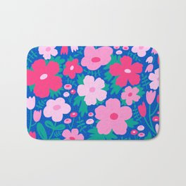 Flower bonanza - Blue background Bath Mat