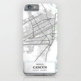 Cancun,Mexico City Map with GPS Coordinates iPhone Case