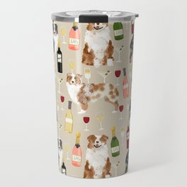 Australian Shepherd blue and red merle wine cocktails yappy hour pattern dog breed Travel Mug