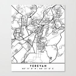 YEREVAN ARMENIA BLACK CITY STREET MAP ART Canvas Print