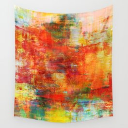 AUTUMN HARVEST - Fall Colorful Abstract Textural Painting Warm Red Orange Yellow Green Thanksgiving Wall Tapestry