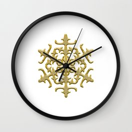 ornament, pattern, decor, gold decor, floral pattern, winter pattern, coldly, jewelry, frosty patter Wall Clock