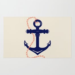 AFE Navy Anchor and Chain Rug