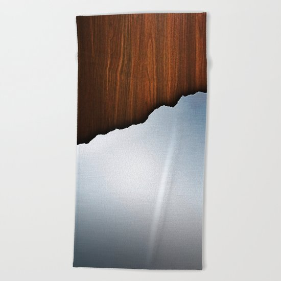 Wooden Brushed Metal Beach Towel