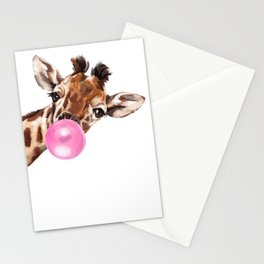 Bubble Gum Sneaky Giraffee Stationery Cards