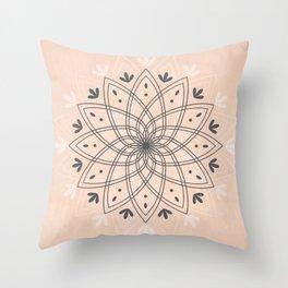 Bohemian Floral Mandala on Rose Pink Marble Throw Pillow