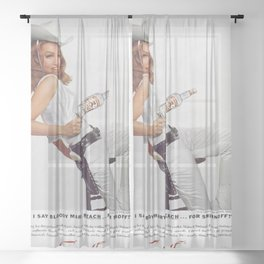 Vodka Martini - Julie Newmar Cowgirl - When I say Bloody Mary...Alcoholic Beverages Vintage Poster Sheer Curtain