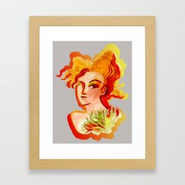 Deep orange yellow hues fashion portrait Framed Art Print