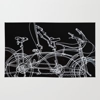 bikes Area & Throw Rugs featuring White bikes by Paul McCreery