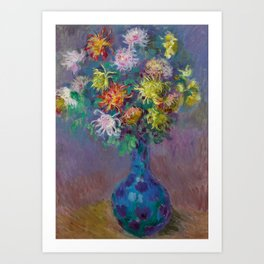 "Claude Monet ""Vase with chrysanthemes"" Art Print"