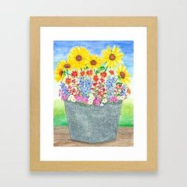 Bucket of Wildflowers Framed Art Print