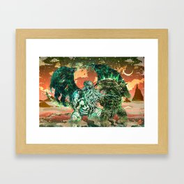 Cthulhu vs Godzilla Framed Art Print