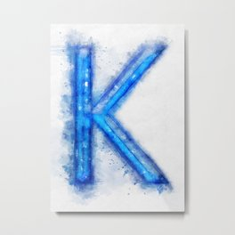 K Letter Metal Print
