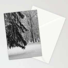 In a snowy park Stationery Cards