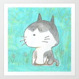 Big head cat Art Print