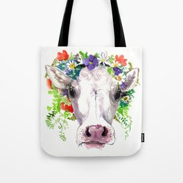 Cow and Flowers, Cow head floral Farm cattle head famr animals Tote Bag